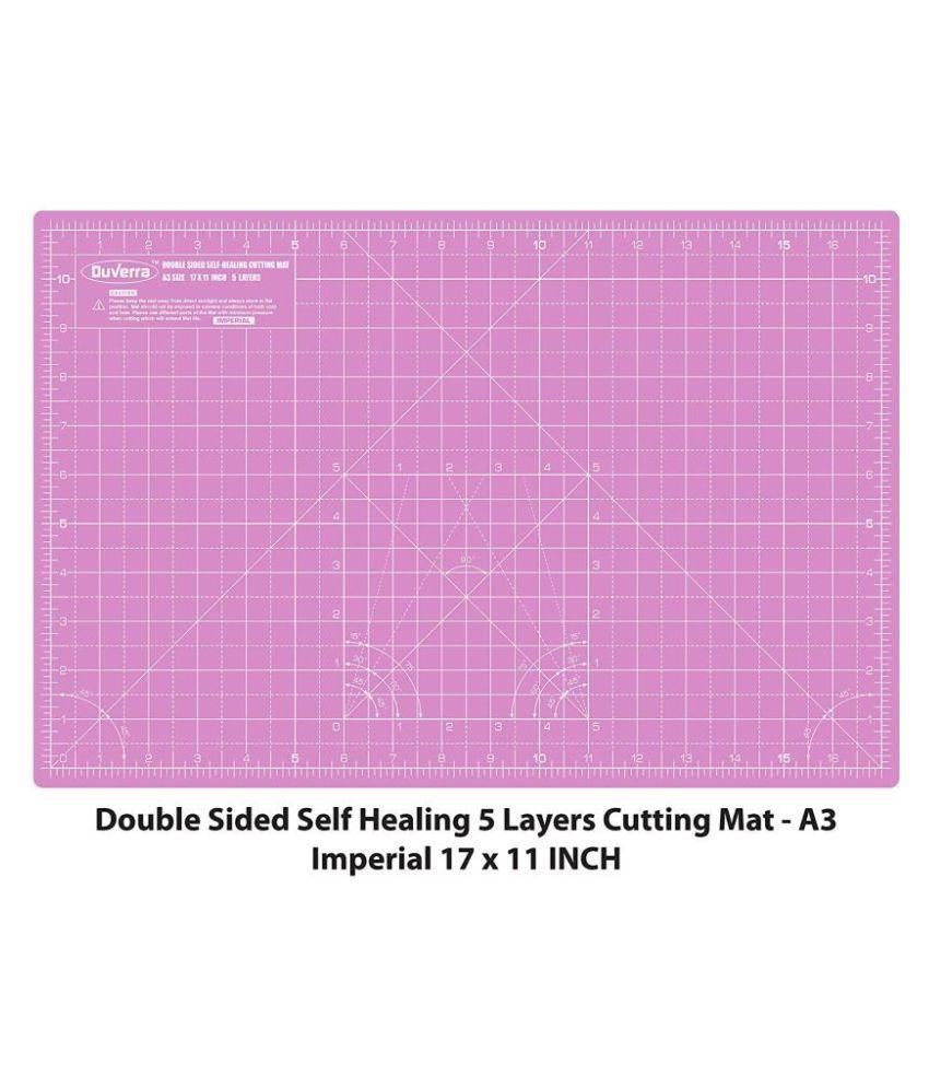 DUVERRA A3 Cutting Mat, 44 x 29 cm/17 x 11 inch, Self-Healing, Double Sided (Carnation Pink/Royal Purple)