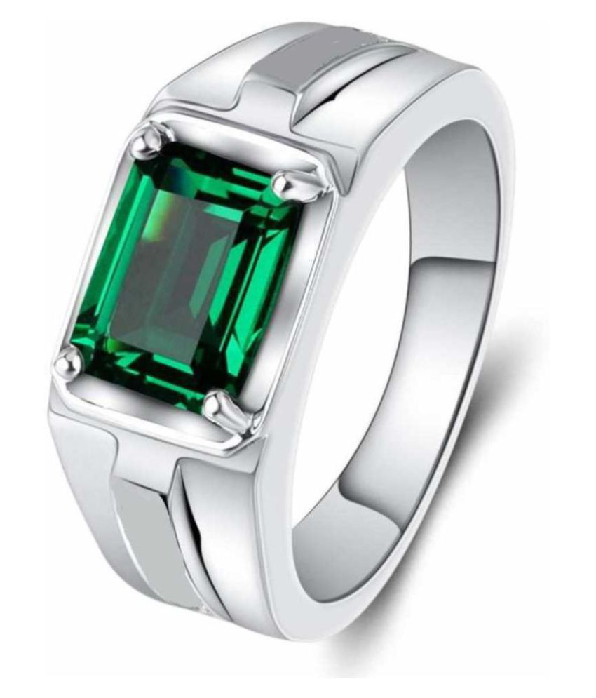 KUNDLI GEMS-Emerald/Panna 6.25cts or 6.25ratti Stone Silver Adjustable Ring for Men