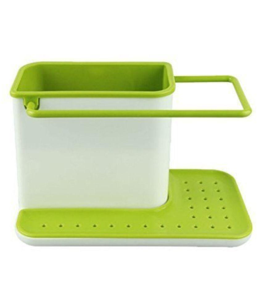 SECOM 3 in 1 Kitchen Sink Organizer for Dishwasher Liquid, Brush, Cloth, Soap, Sponge (Pack of 1)