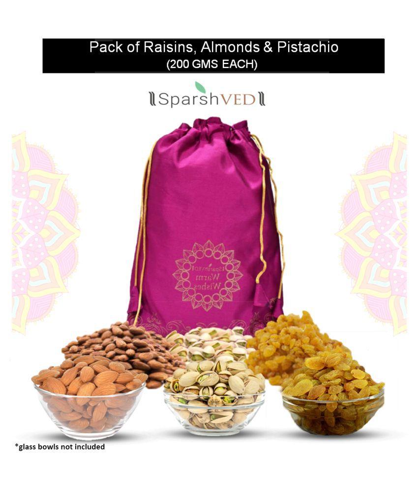 Sparshved Dry Fruits Combo Potli 600g (Almonds (Badam) 200g + Raisin (Kishmish) 200g + R&S Pistachios 200g)