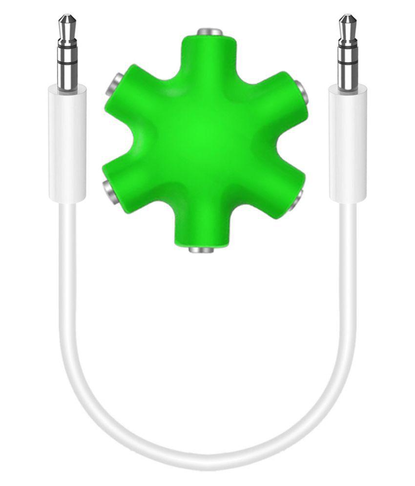 Triangle Ant 3.5 mm 6 Way Jack Stereo Audio Rockstar Headphone Splitter (Green) RockStar AUX Splitter 0.1
