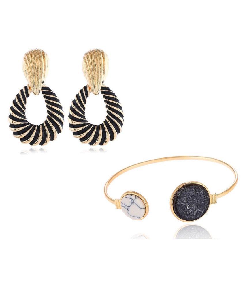Combo of Metal Drop Earrings and Marble Bracelet