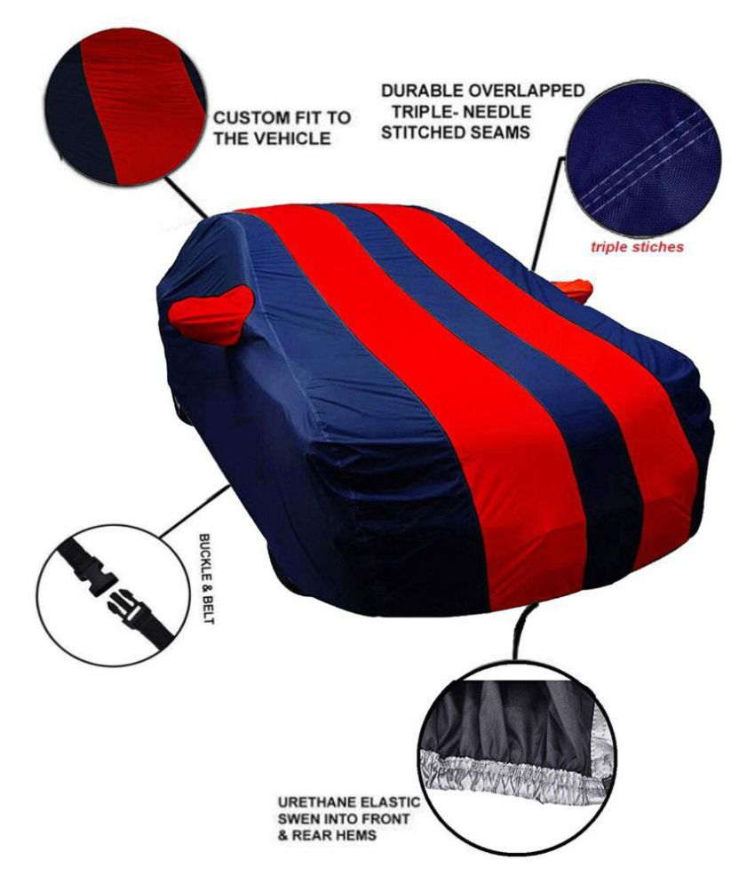 Soami Dust Proof Car Body Cover for Volkswagen Polo with Mirror Pockets Triple Stitching & Light Weight (Navy Blue & RED Color) Model 2017-18