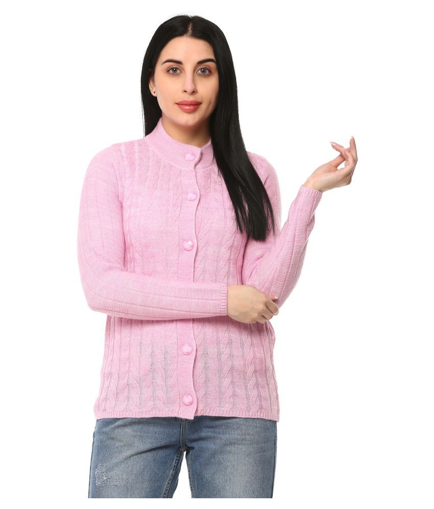 Glamaze Acrylic Pink Buttoned Cardigans
