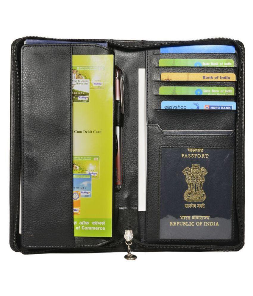 Hide&Sleek Faux Leather Black Formal Passport Wallet