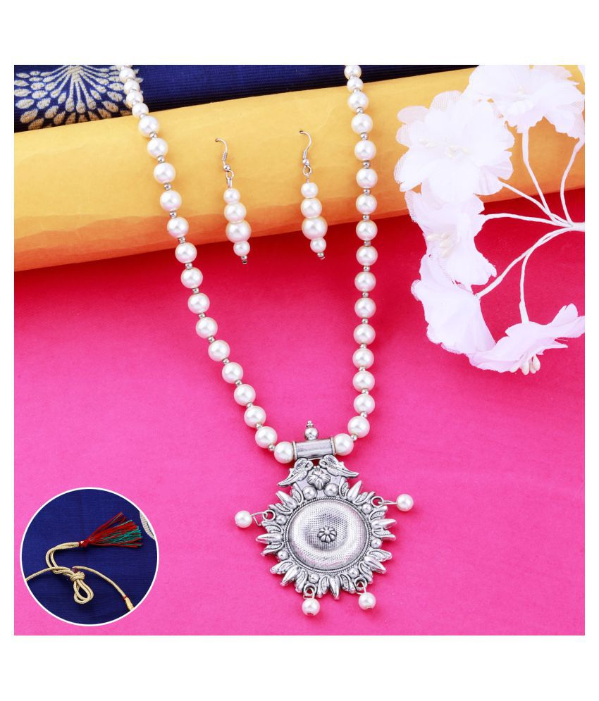 N M CREATION Alloy Silver Contemporary Traditional Silver Plated Necklaces Set