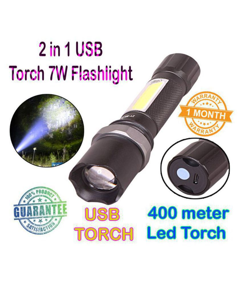 SN New 2 in 1 Rechargeable Battery Waterproof Zoomable Light Led Flashlight 10W Flashlight Torch Zoomable Led Torch - Pack of 1