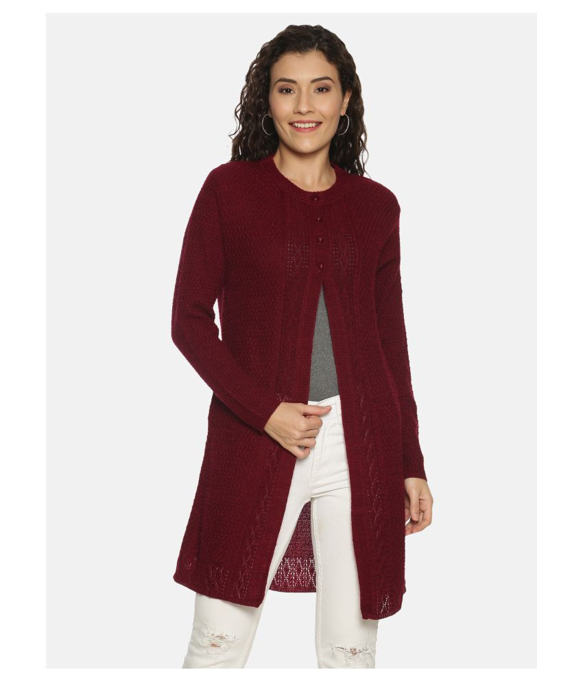 Clapton Acrylic Maroon Buttoned Cardigans