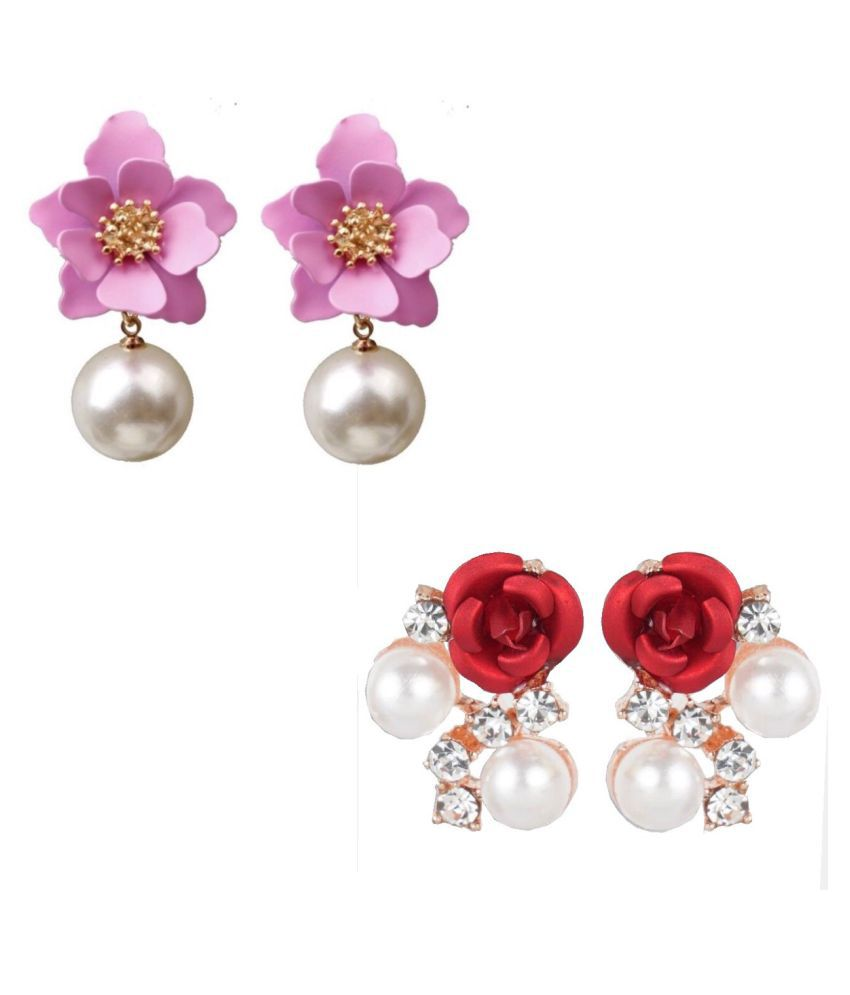 Combo of Floral Pearl Earrings