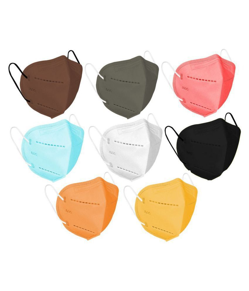 Healthopedia N95 Face Masks Pack Of 8, Easy Breathable, Washable - Reusable Multicolor Masks for Men & Women