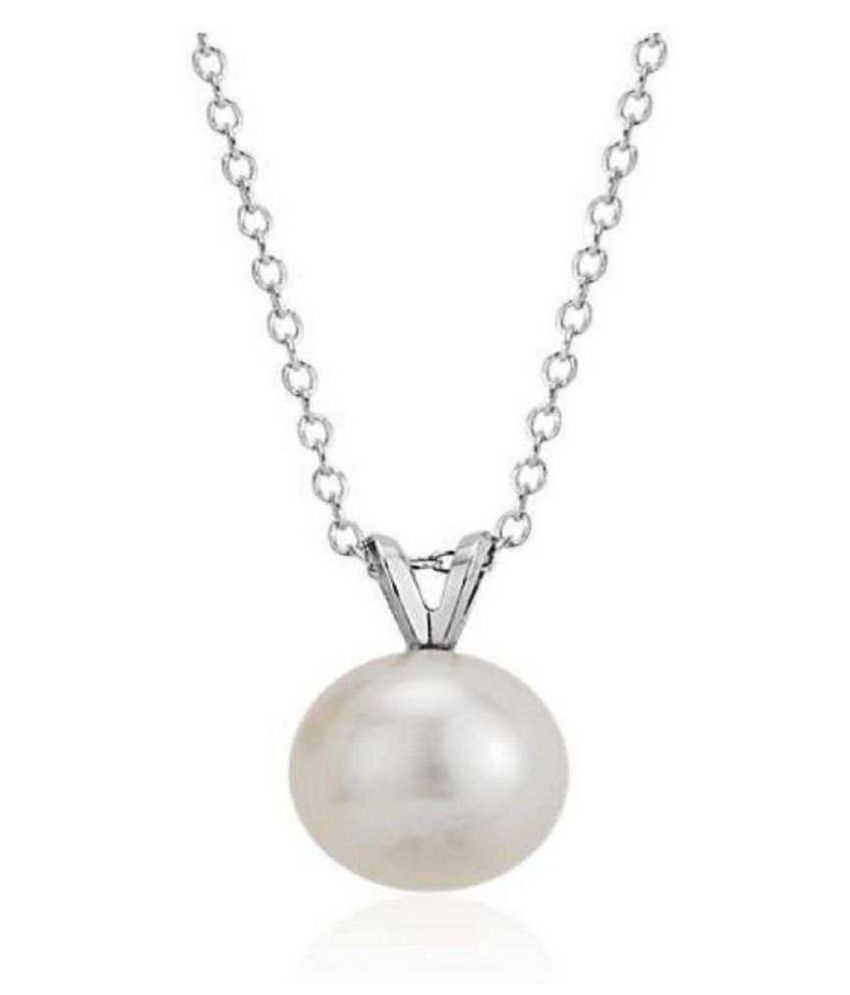 5 ratti Stone 100% Natural Pearl Silver Pendant without chain by Ratan Bazaar\n