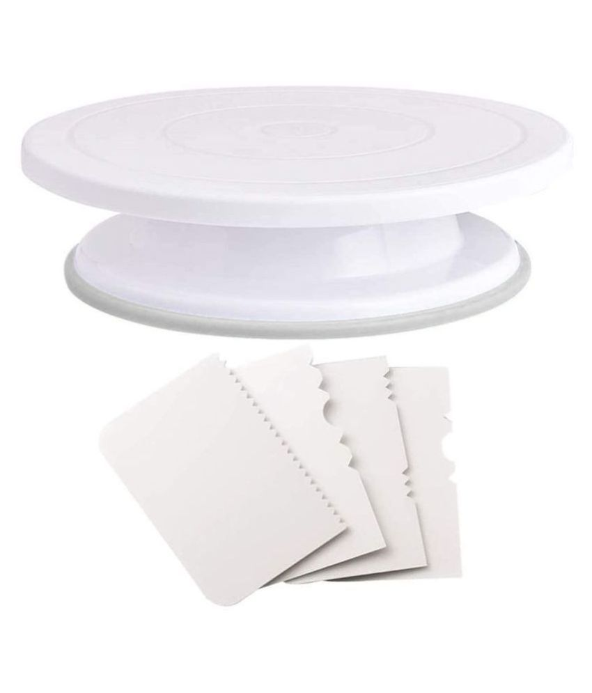 BUYERS MART  Plastic Revolving Turn Table Cake Stand with 4 Scrapper, White