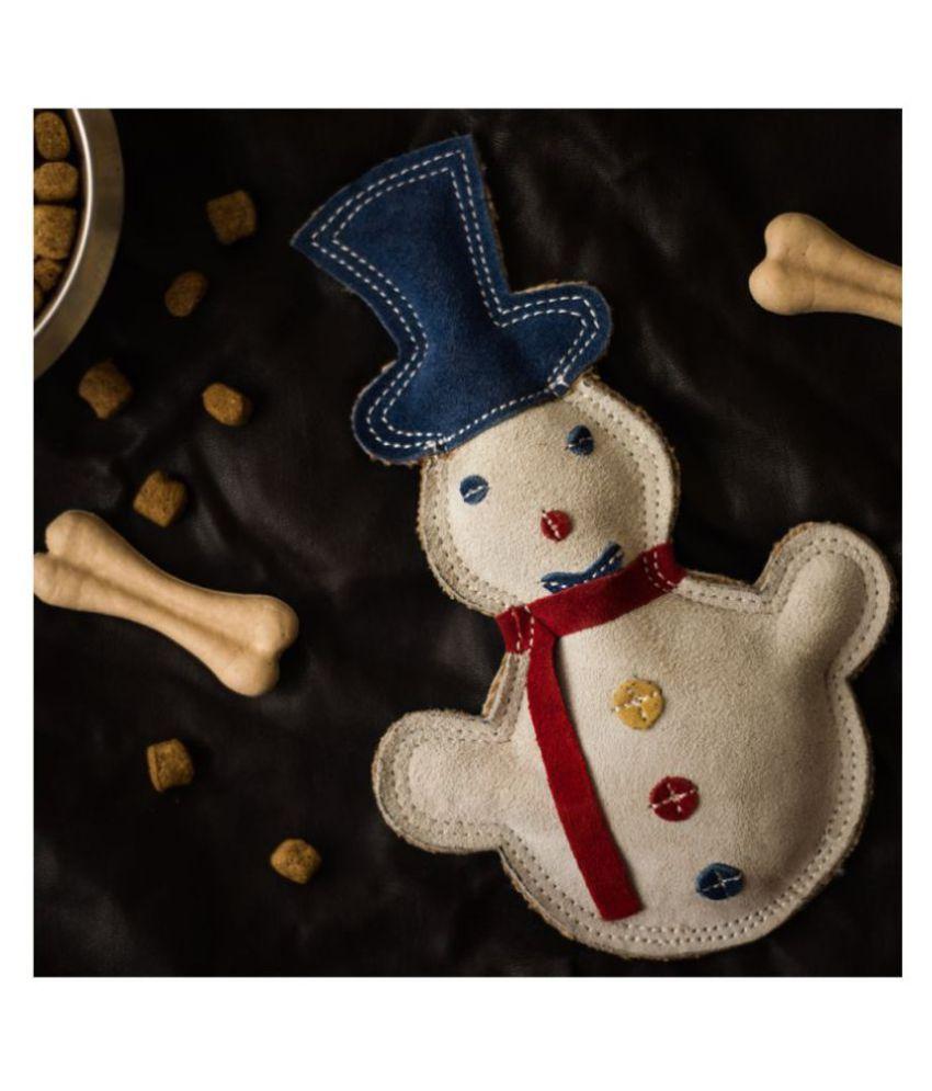 FORFURS Flatty Snowman Leather Dog Toy