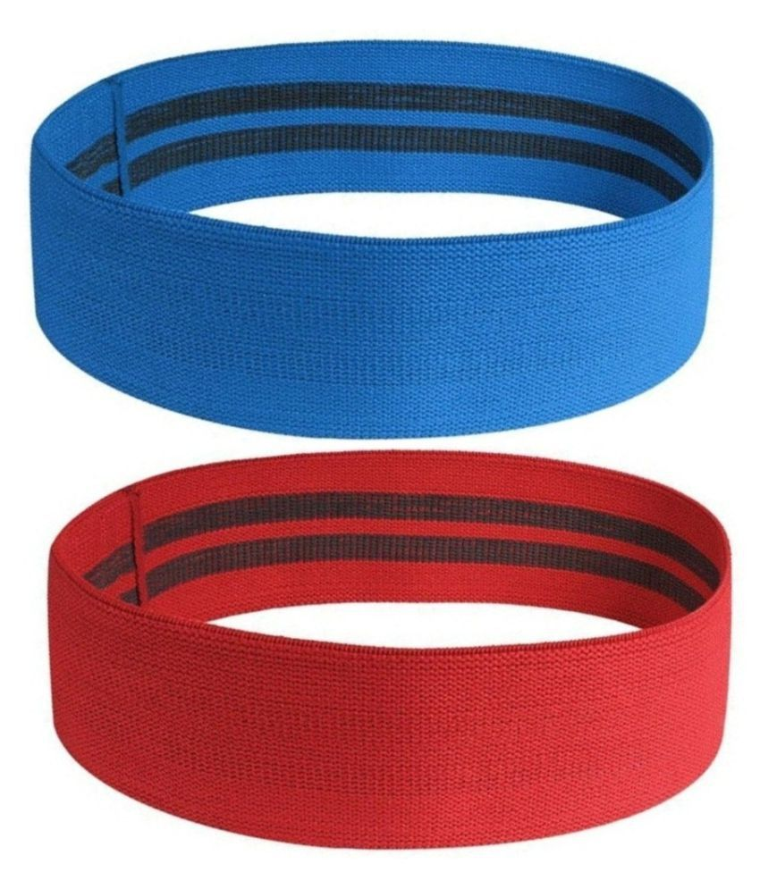 Heavy Exercise Fabric Loop Band (15 x 3 inches) Unbreakable (For Strengthening) Red & Blue
