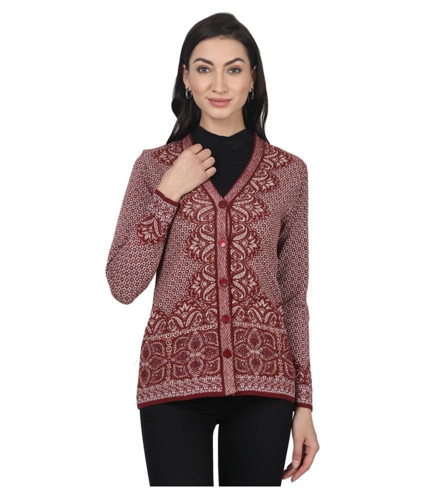 Monte Carlo Woollen Red Buttoned Cardigans