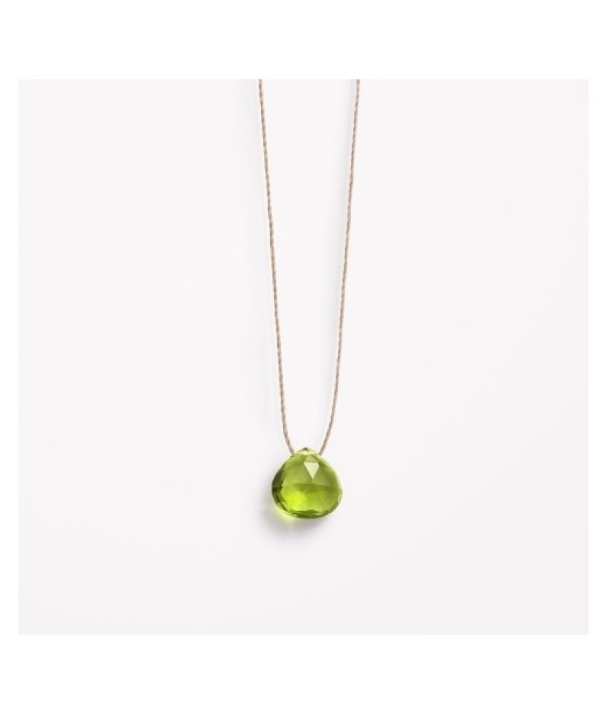Peridot drop Crown Pendant in 5 carat Gold Plated without chain by Kundli Gems