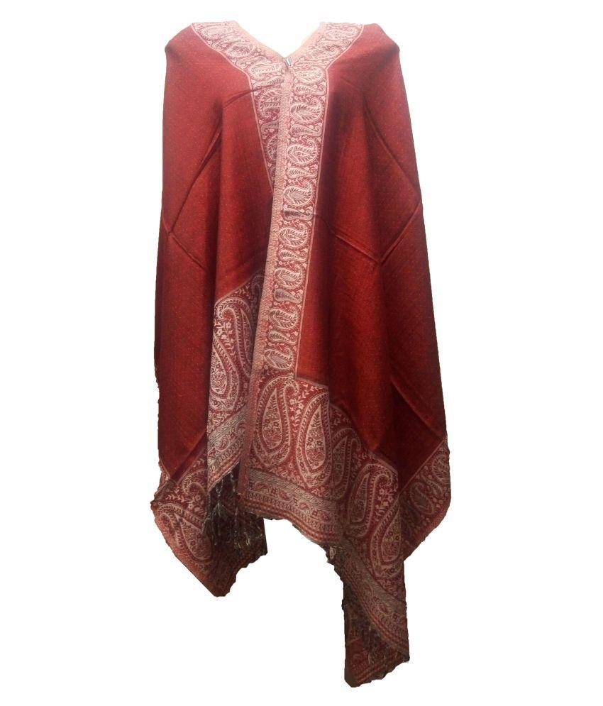 shah art gallery Maroon Floral Wool Stoles