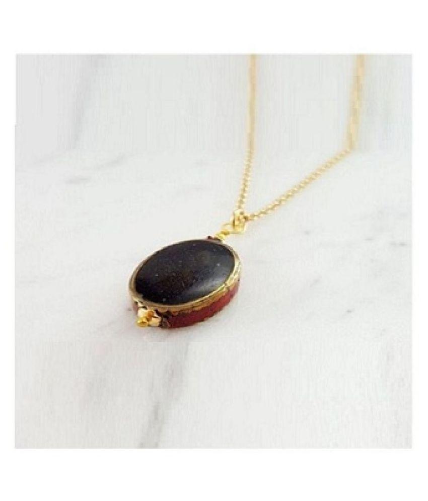 10.5 Carat A+ Quality Sulemani Hakik Pukhraj Gemstone without chain Gold Plated Pendant by Kundli Gems