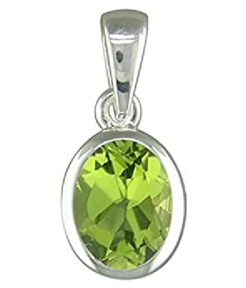 7.25 ratti Silver Adjustable Peridot Pendant without chain for unisex by Ratan Bazaar\n
