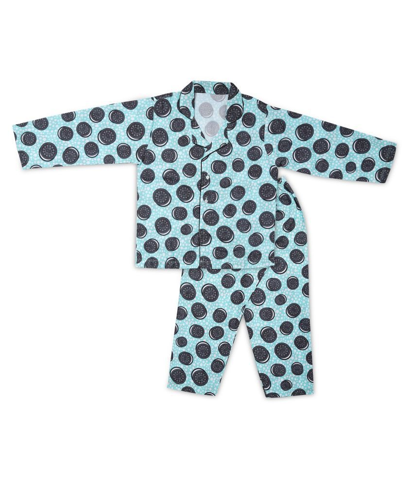 in365 Cotton Digital Print Night Shirt and Pyjama Set for Baby Boys and Girls Unisex Night Suit Set