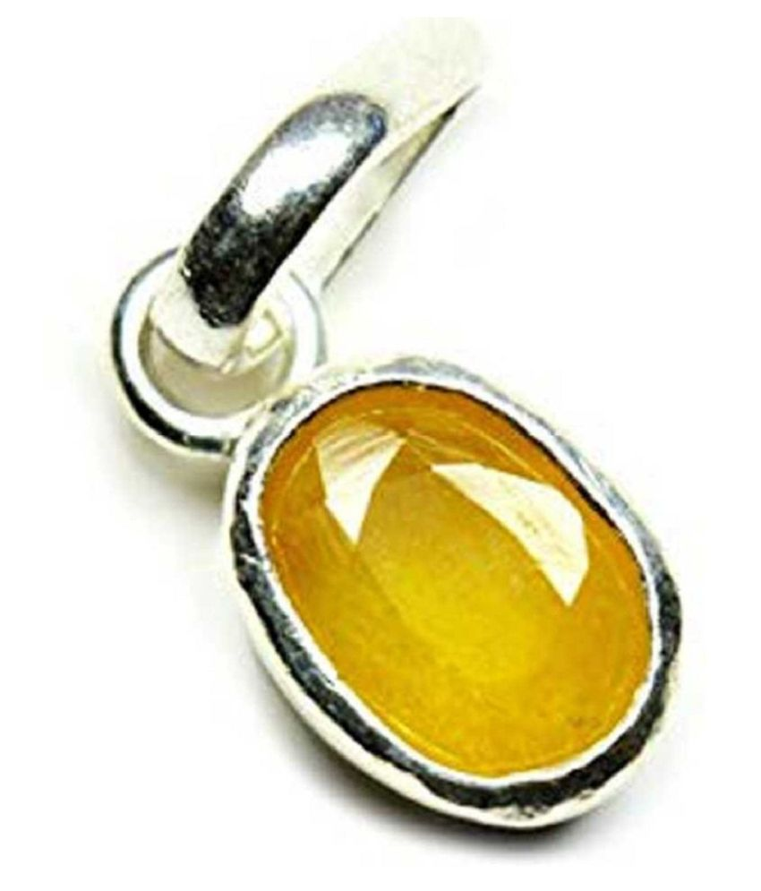 100% Natural 5 carat Yellow Sapphire Silver Pendant without chain by Kundli Gems\n