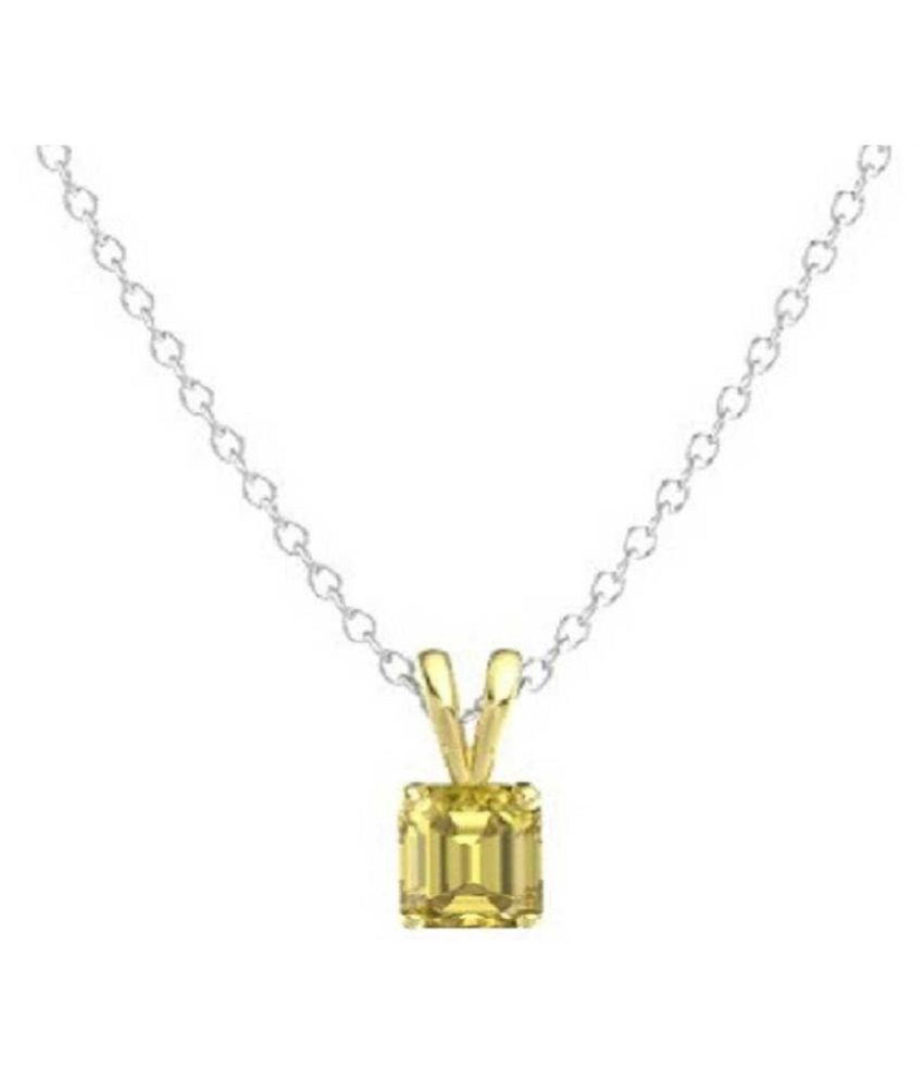6 RATTI Silver  Yellow Sapphire Pendant without chain by Kundli Gems\n
