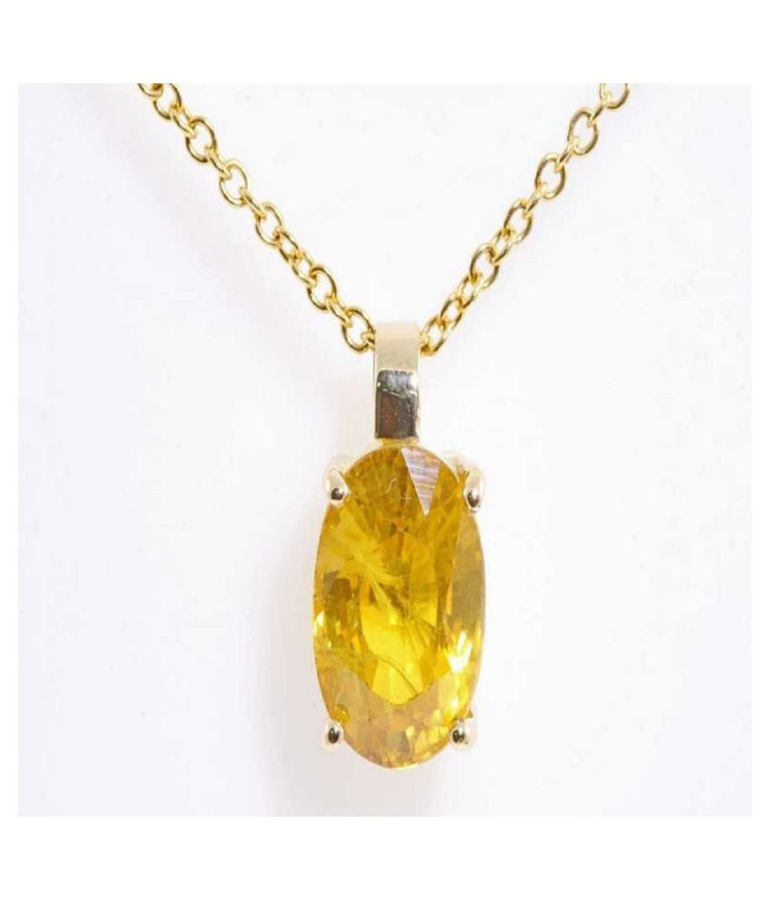 9 Carat Natural Stone Gold Plated Yellow Sapphire Pendant without chain for unisex by Ratan Bazaar\n
