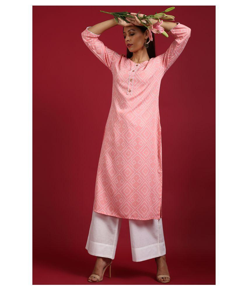 Janasya Pink Rayon Straight Kurti