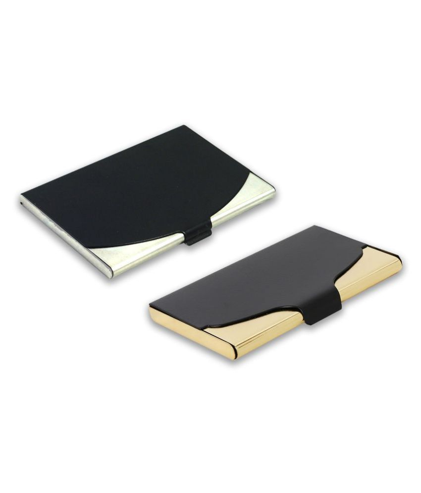 Auteur 5-18 Multicolor Artificial Leather Professional Looking Visiting Card Holders for Men and Women Set of 2 (upto 15 Cards Capacity)