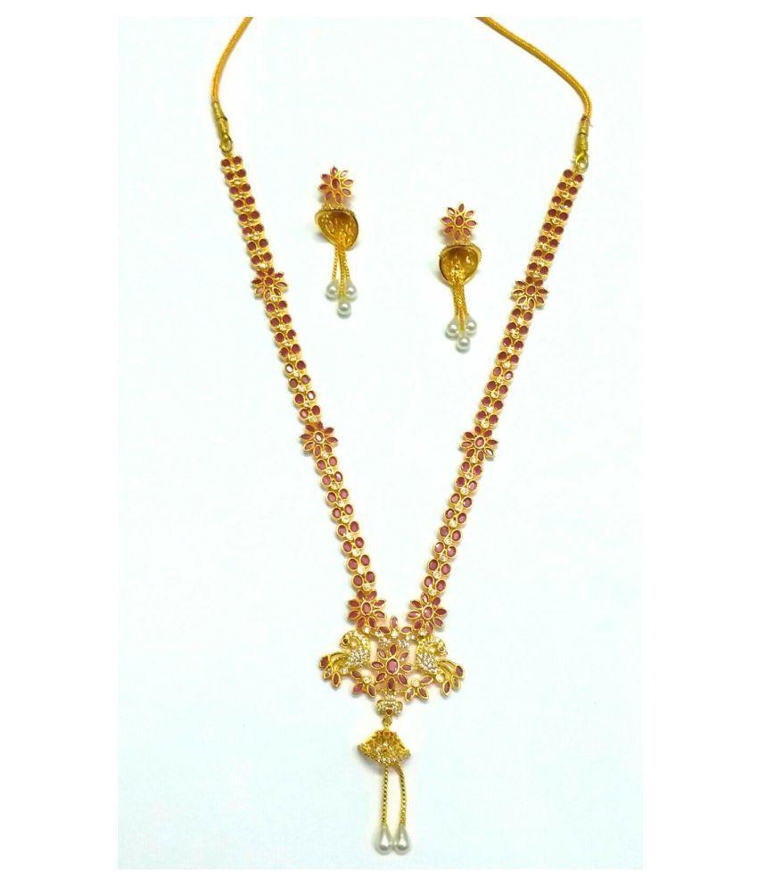 Trinket Mania Brass Golden Choker Designer Gold Plated Necklaces Set