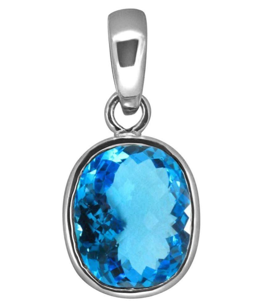 7.25 Ratti White Silver Topaz Stone Pendant without chain by Kundli Gems
