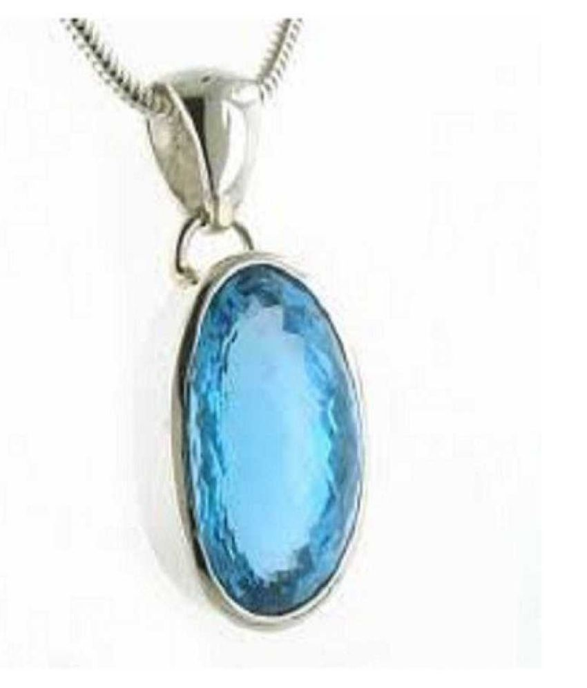 7.5 Carat Blue Topaz Pendant with lab Certified Silver Topaz Stone without chain by Kundli Gems