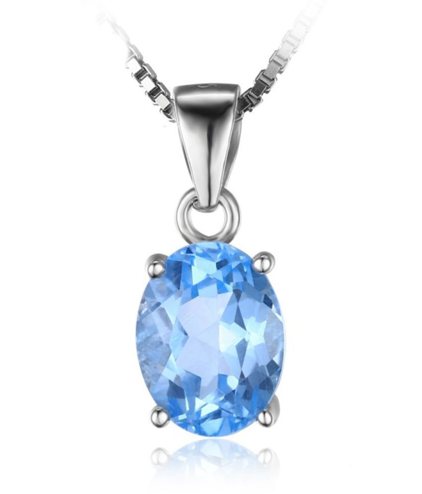9.5 ratti natural Topaz Stone pure Silver Pendant without chain for unisex by Ratan Bazaar\n