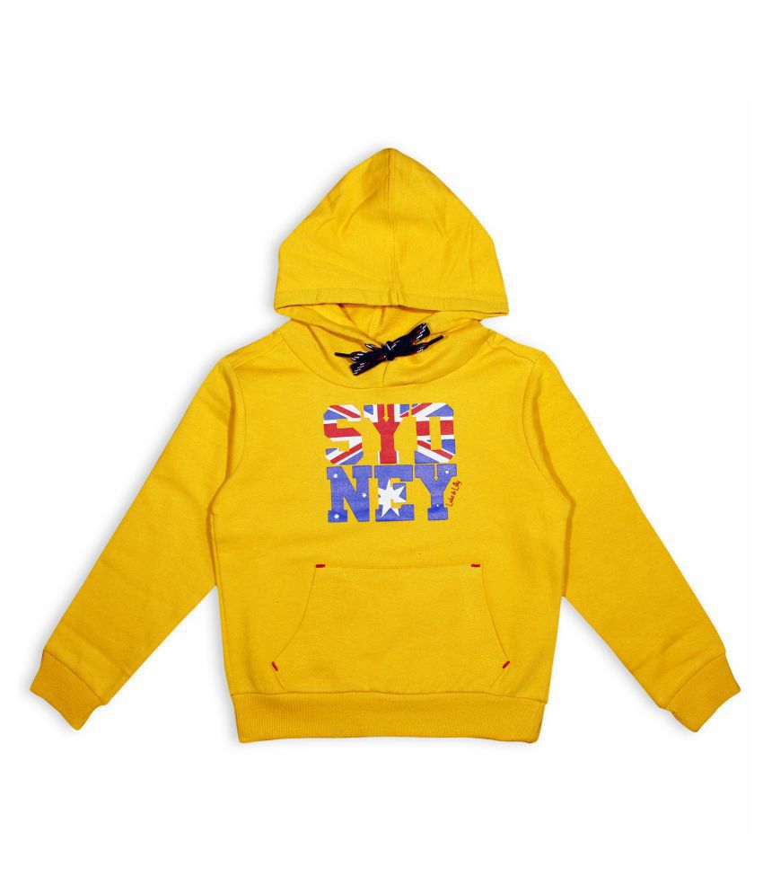 Luke and Lilly Boys Fleece FullSleeve Hood sweater Yellow_Pack of 1
