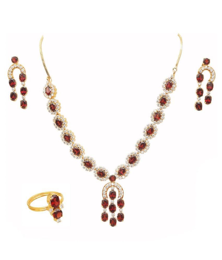 Vinayak Alloy Maroon Collar Designer 18kt Gold Plated Necklaces Set