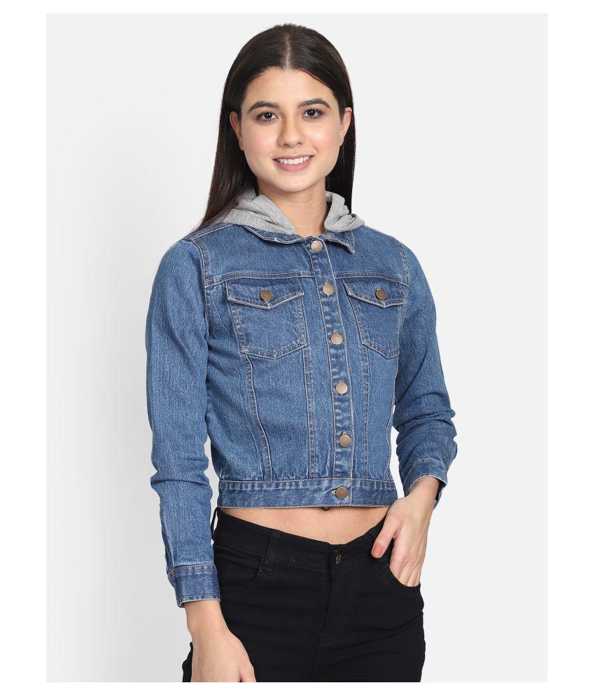 Yaadleen Cotton Blue Hooded Jackets