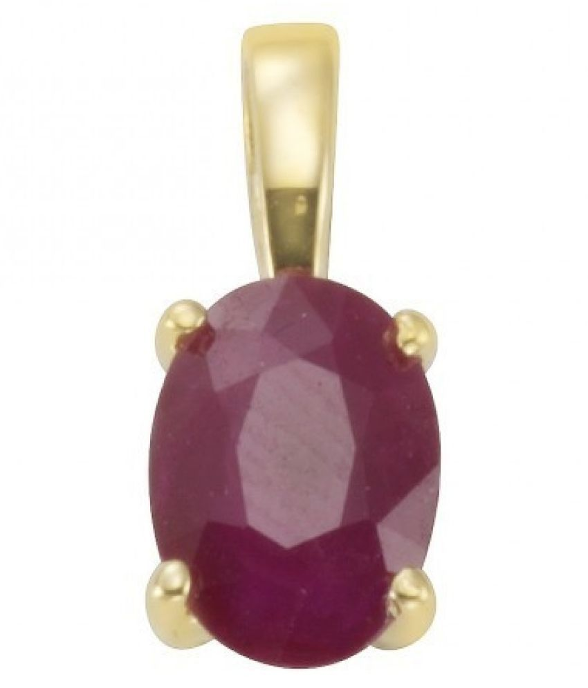 5 Ratti Ruby (Manik)Pendant With Natural Gold Plated Stone Pendant without chain by Ratan Bazaar