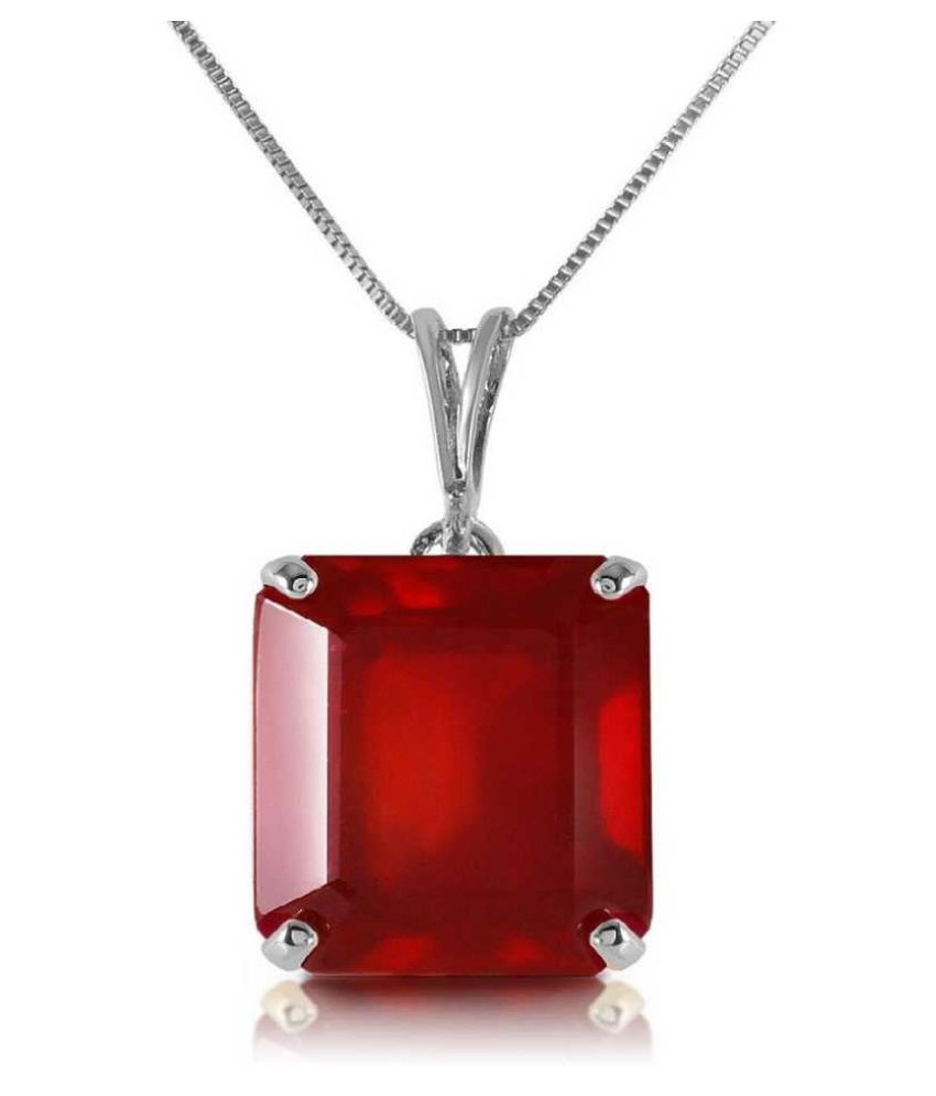 7.5 ratti natural Ruby Stone pure Silver Pendant without chain for unisex by Ratan Bazaar\n