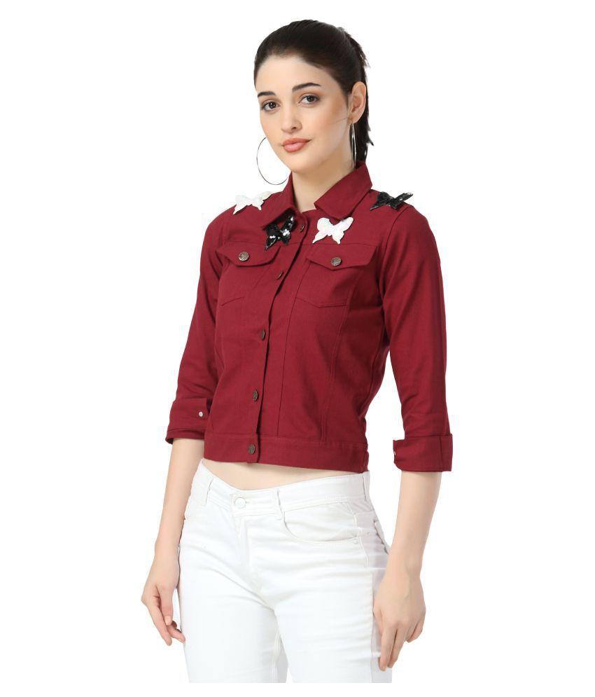 BuyNewTrend Cotton Blend Maroon Jackets