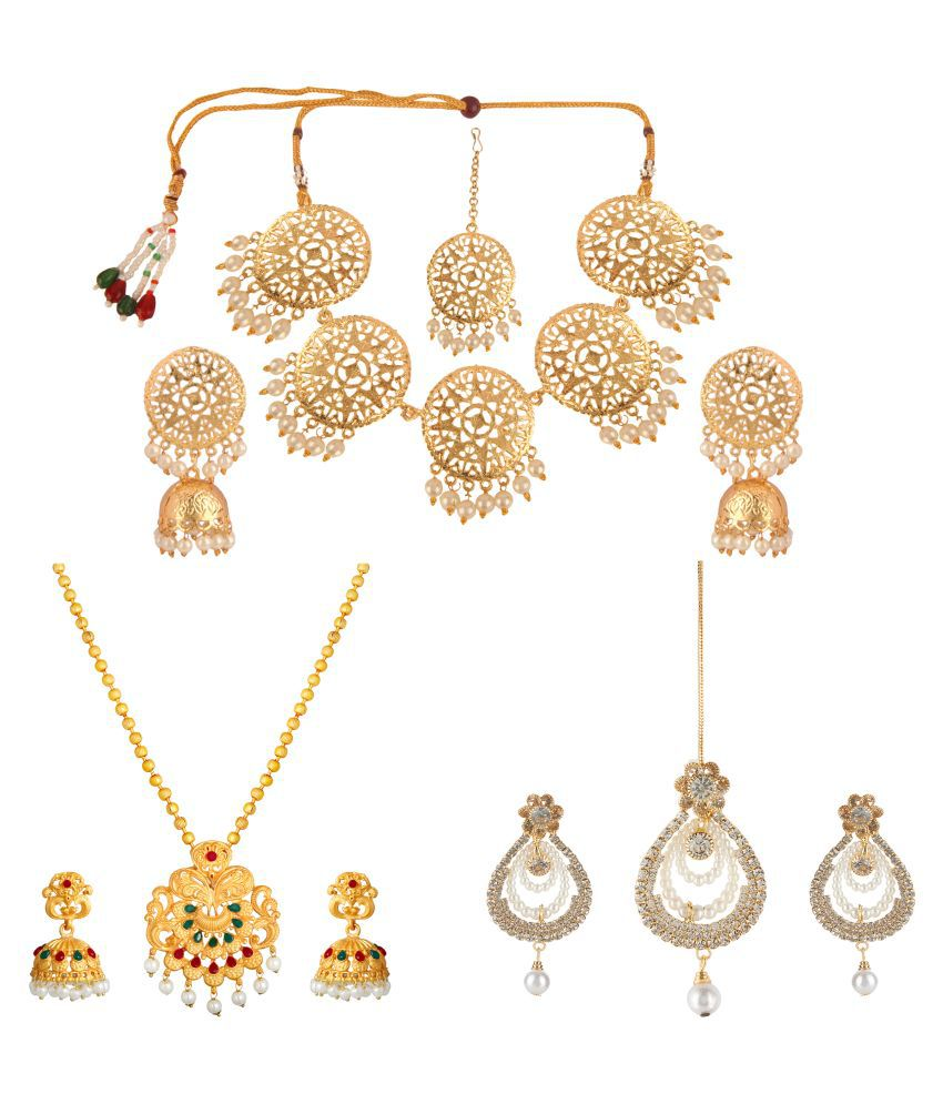 Kord Store Alloy Golden Choker Traditional Gold Plated Necklace set Combo