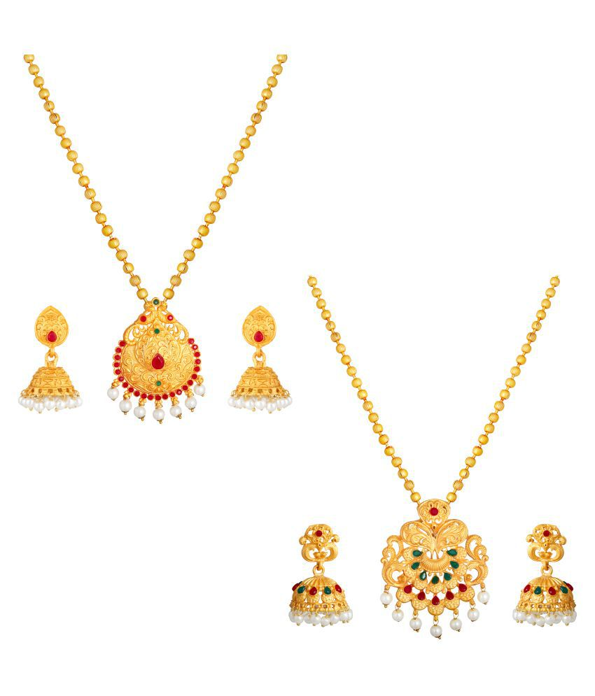 Kord Store Alloy Multi Color Matinee Traditional Gold Plated Necklace set Combo