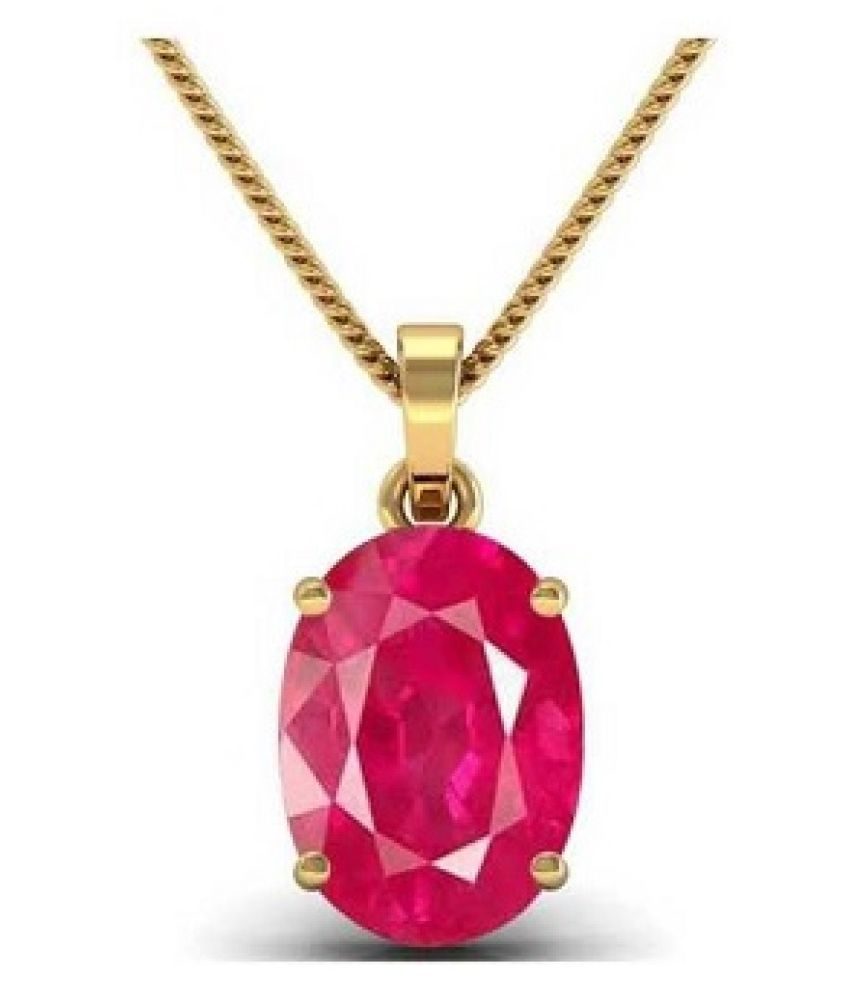 Natural Ruby (Manik)9.25 Carat  Gold Plated Pendant without chain  by Kundli Gems\n
