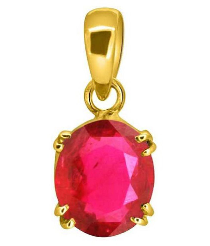Ruby (Manik) Pendant in 5 carat  Gold Plated without chain by Ratan Bazaar
