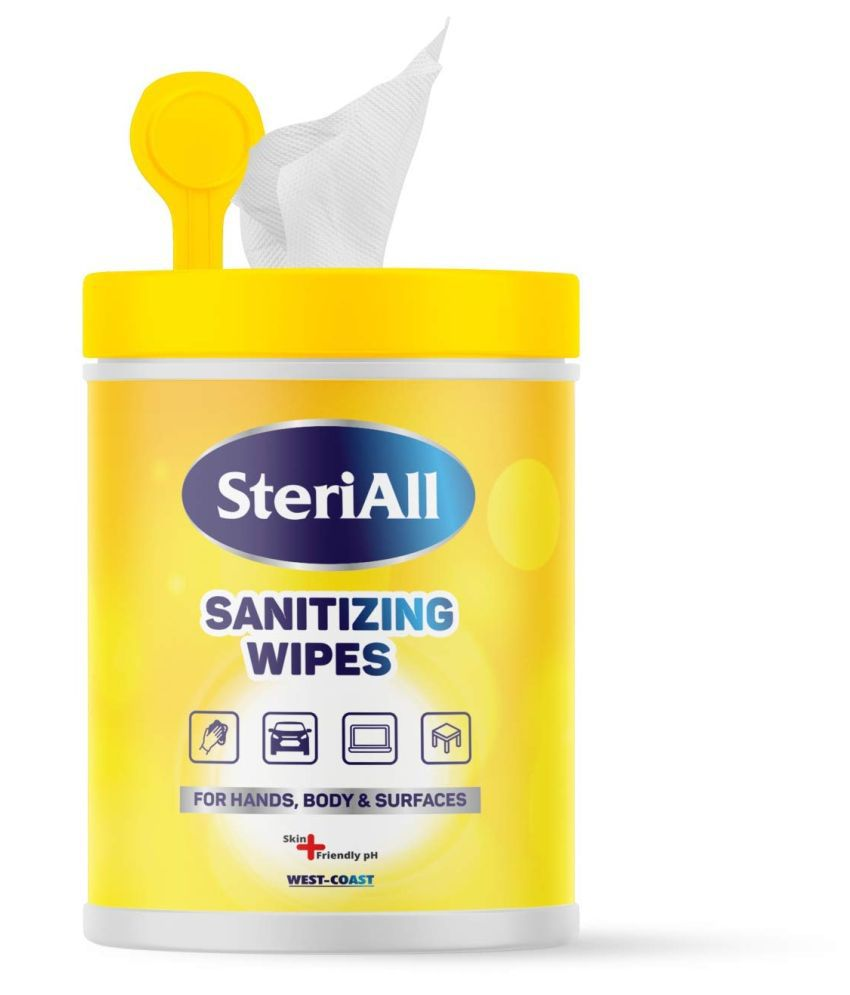 West-Coast SteriAll Sanitizing Wipes - 50 Sanitizers 50 mL Pack of 2