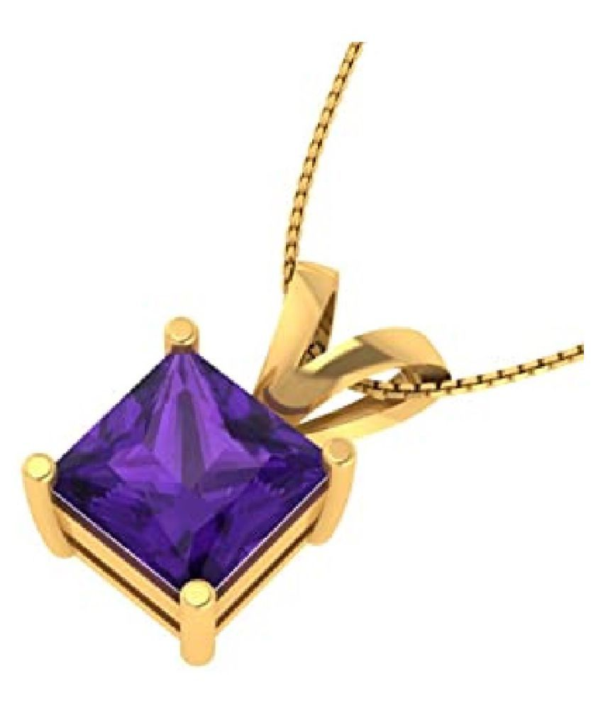 7.25 Ratti Gold Plated Original Amethyst  Pendant without chain Lab Certified Purple Stone by Ratan Bazaar\n