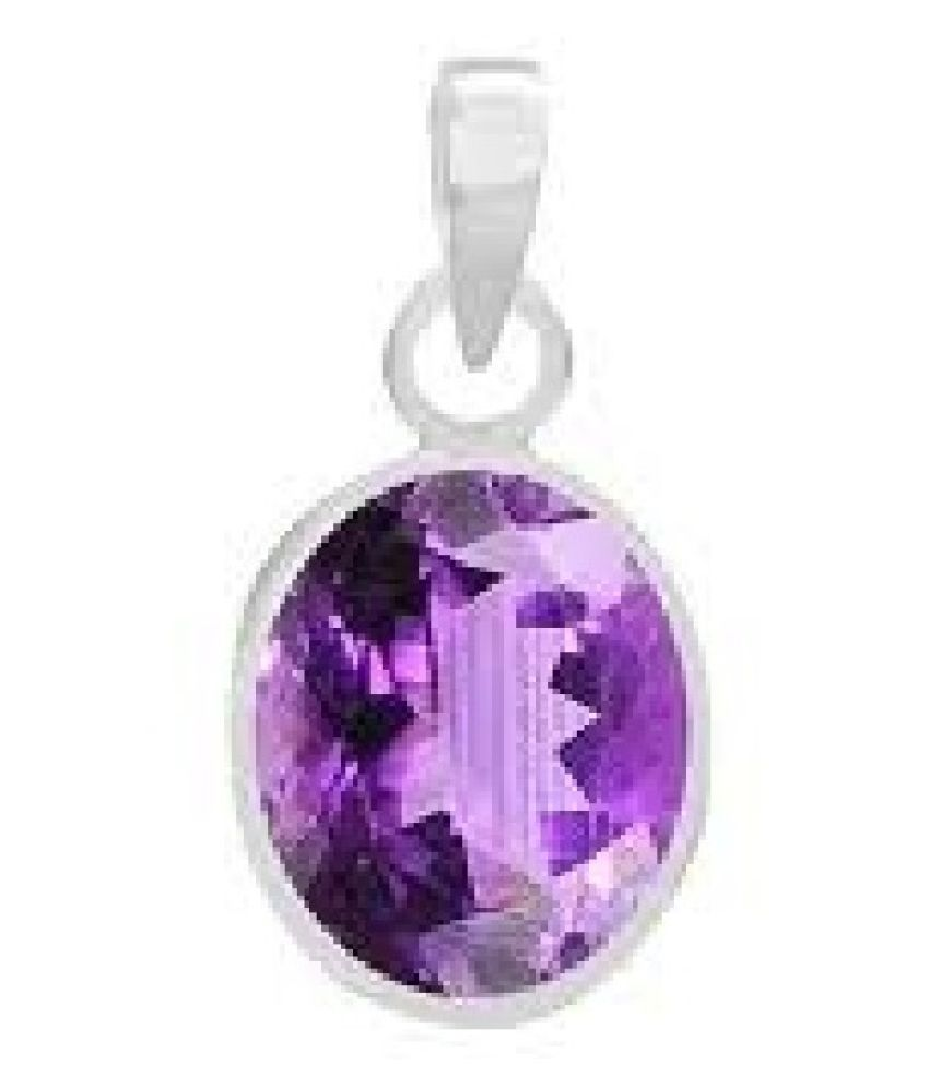Certified 5.5 Carat  Silver Amethyst Stone Pendant without chain by Ratan Bazaar