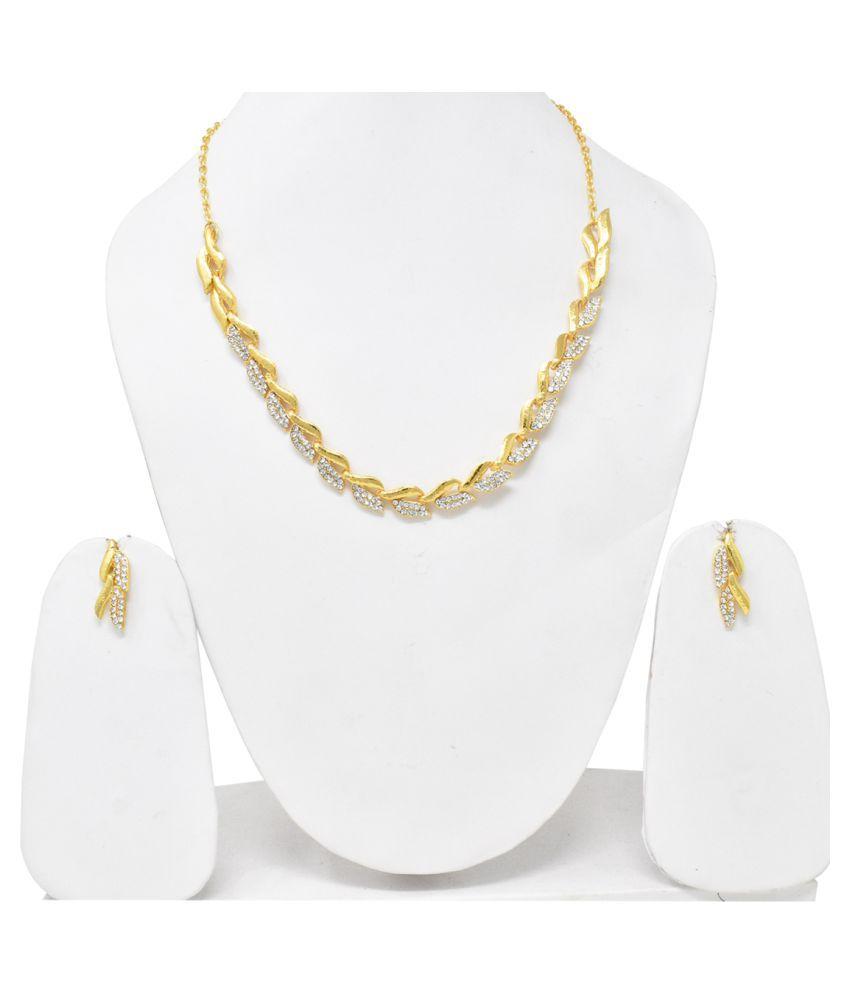 Jaishree Jewels Alloy Golden Statement Designer Gold Plated Necklaces Set