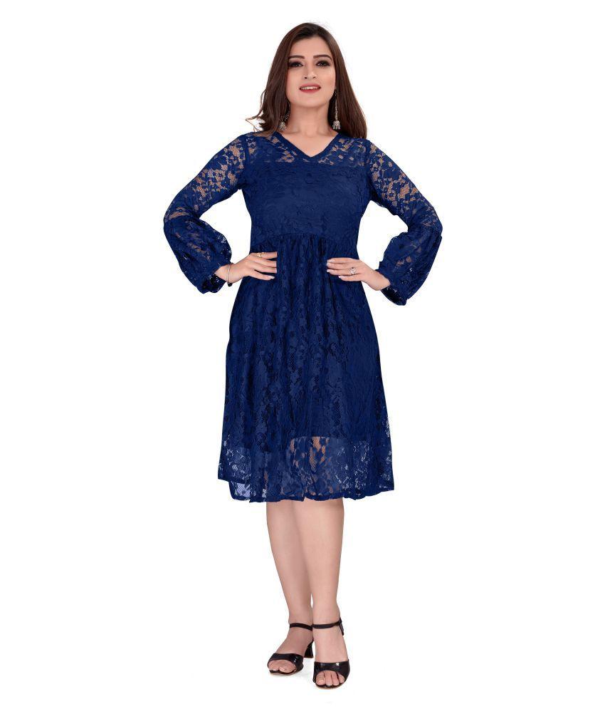 SK Creation Polyester Blue Skater Dress