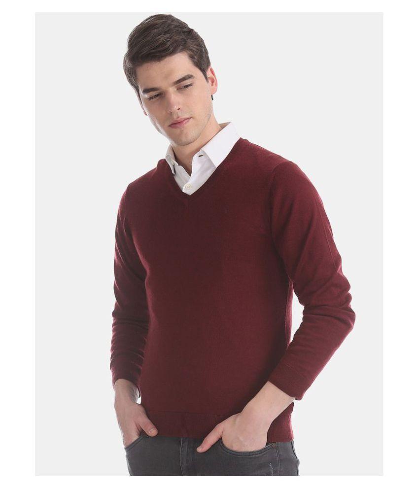 Sisney Maroon V Neck Sweater Single