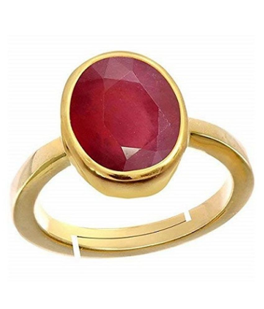 9.25 Ratti Carats  Ruby(Manik) Natural Stone Free Size Adjustable gold plated Ring for Man Or Women